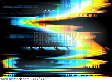 Glitch And Pixel Noise Of Tv And Computer Screen Error Vector Background. Abstract Colorful Wave Of