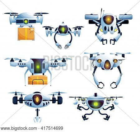 Flying Robot, Droid Drone And Copter Cartoon Characters. Vector Aircraft. Unmanned Aerial Vehicle Ro