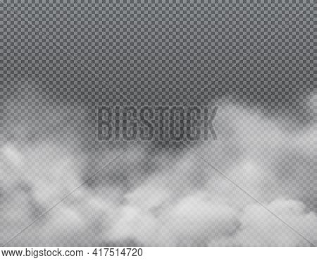 White Fog Or Clouds On Transparent Background. Realistic Vector Fog, Smoke, Steam Or Mist Clouds, Sm