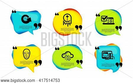 Update Time, Online Survey And Face Biometrics Icons Simple Set. Speech Bubble With Quotes. Swipe Up