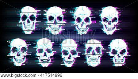 Glitch Skulls Vector Distorted Neon Glowing Pixelized Craniums Or Jolly Roger. Trippy Digital Art, H