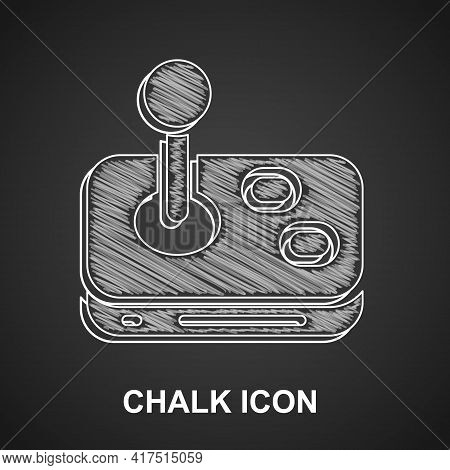 Chalk Joystick For Arcade Machine Icon Isolated On Black Background. Joystick Gamepad. Vector