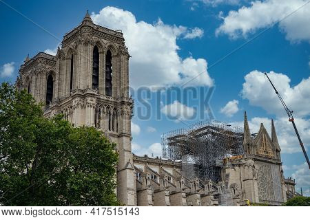 Reconstruction And Restoration Of Notre Dame Cathedral Church In Paris