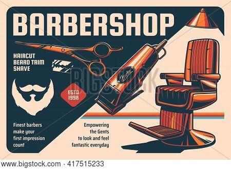 Barbershop Vintage Vector Poster. Armchair And Equipment Shaving Machine, Scissors And Blade For Men