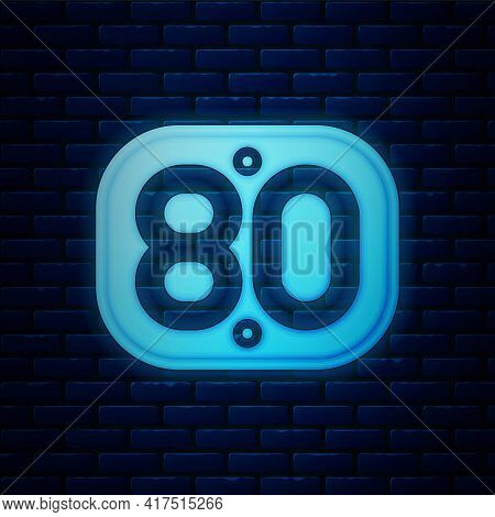 Glowing Neon 80s Retro Icon Isolated On Brick Wall Background. Eighties Poster. Vector