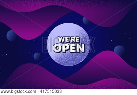 Were Open. Abstract Background With Dotwork Shapes. Promotion New Business Sign. Welcome Advertising
