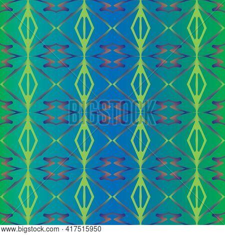 Seamless Blue Green Pattern In Folk Style