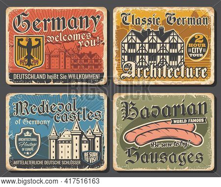 Vintage Plates Of Germany Architecture, Bavarian Sausages. German Touristic Attractions, Travel Land