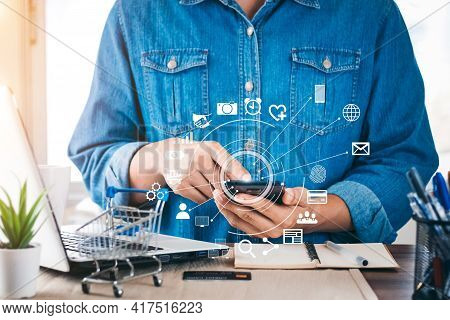 Concept Of Online Shopping, Young Men Shop Online, Shop And Sell In The Online World. Connected All
