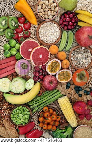 Super food for a high fibre diet for gut health with fruit, vegetables, cereal products, grains, nuts, seeds and legumes. High in antioxidants, minerals, vitamins, anthocyanys, protein and omega 3.