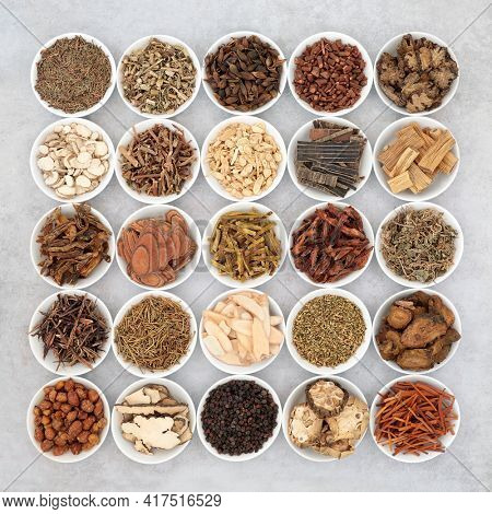 Chinese herb collection used in traditional herbal medicine in porcelain bowls on mottled grey background. Alternative health care concept. Flat lay, top view.