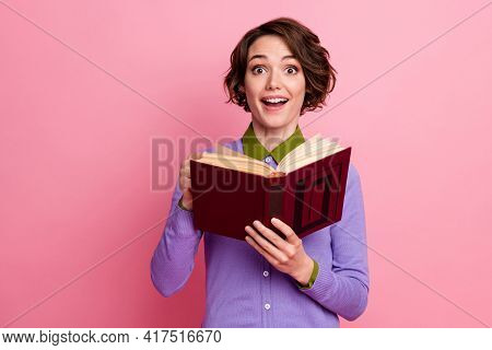 Photo Of Charming Funny Lady Hold Book Read Story Interesting Plot Wear Purple Jumper Isolated Pink