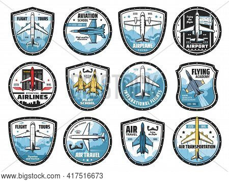 Aviation And Airplanes Vector Icons. Modern Planes Flying In Sky, Flight Tours. Transportation, Avia