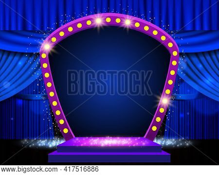 Background With Blue Curtain, Podium And Retro Arch Banner. Design For Presentation, Concert, Show.