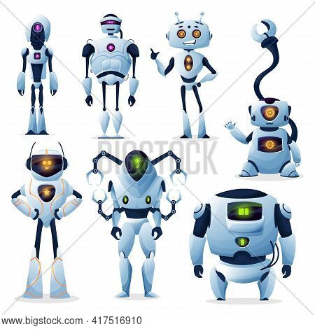 Cartoon Robots, Cyborg Androids And Robotic Ai Creatures Vector Characters. Ai And Droids, Robo Tech