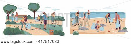 People Volunteers Cleaning Up City Park And Beach From Wastes, Flat Cartoon Design. Vector Team Of A
