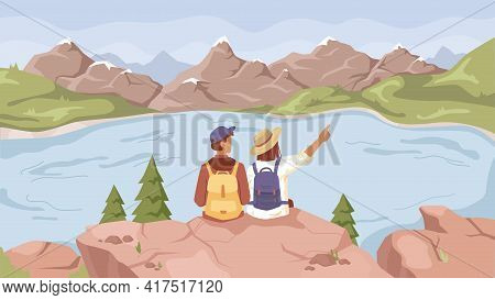 Landscape With Lake River, Mountains Scenery And Couple Of Travelers Sitting On Rock And Enjoying Sc