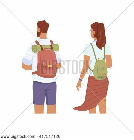 Travelers Look Into Distance, Man And Woman With Rucksacks Back View, Flat Cartoon Characters. Vecto