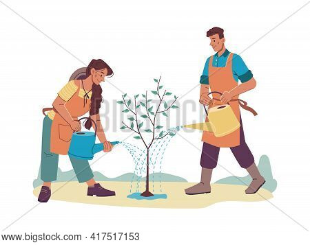 Cartoon People Watering Growing Tree With Water Cans Isolated Man And Woman Farmers In Aprons. Vecto