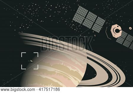Space Sci-fi Background With Ufo And Satellite Near The Planet Saturn, A View From Space. Vector Ban