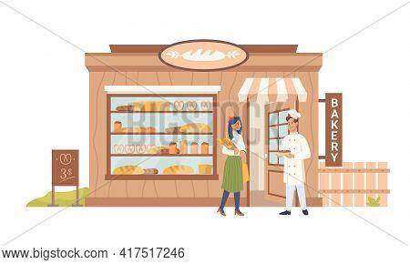 Facade Of Bakery Shop, Seller Buyer, Building Facade Exterior, People Shopper And Baker Vendor. Vect