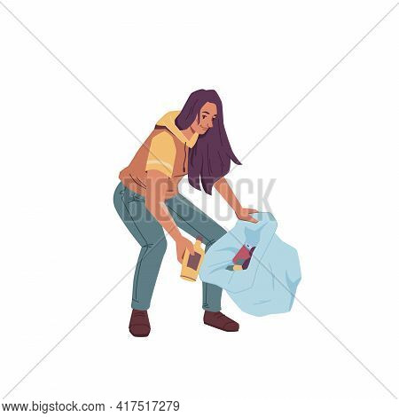 Volunteer Woman With Bag Gathering Garbage Trash Isolated Flat Cartoon Character. Vector Female Clea