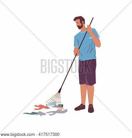 Cartoon Man With Rake Gathering Garbage Trash Isolated Volunteer Activist. Vector Bearded Adult Male