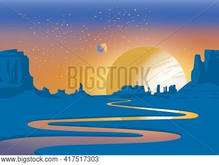 A Landscape Of An Alien Planet With A Deserted Valley, A Winding River, Rocks And A View Of Two Plan