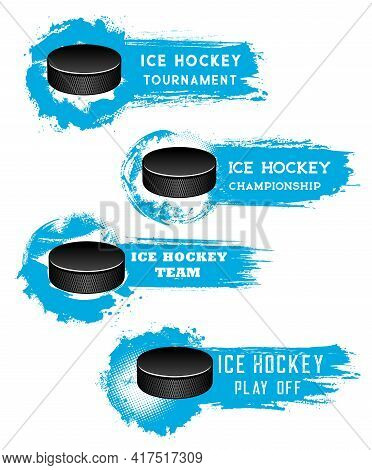 Ice Hockey Banners, Puck On Ice Arena, Match Cup Vector Halftone Backgrounds. Ice Hockey Sport Club