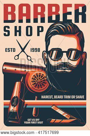 Barbershop, Man Hairdresser Saloon Vintage Vector Poster. Man Haircut, Beard Trim Or Shave Retro Ban