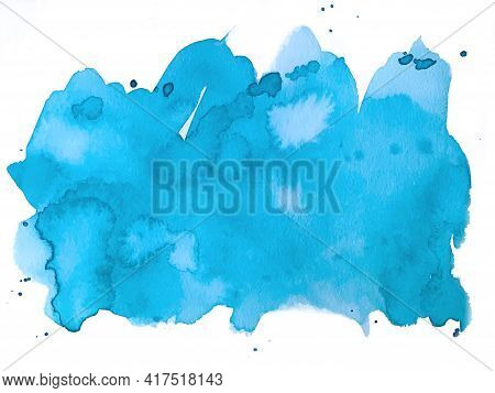 Hand Painted Blue Watercolor Background, Watercolor Spot, Splashes. Watercolor Texture On White Back