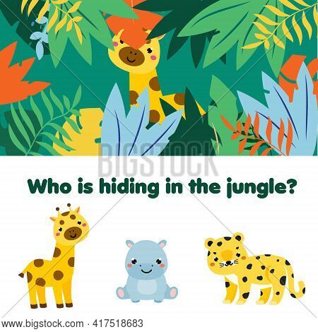 Educational Game For Children, Kids Activity. Matching Game With Jungle Animals