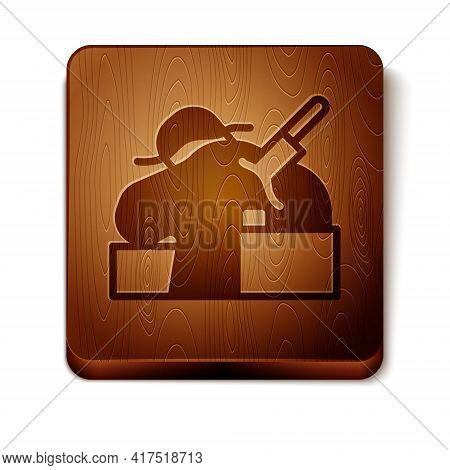 Brown Murder Icon Isolated On White Background. Body, Bleeding, Corpse, Bleeding Icon. Concept Of Cr