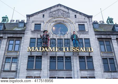 Amsterdam, Netherlands - March 11, 2017: View Of Madame Tussauds Museum On Dam Square