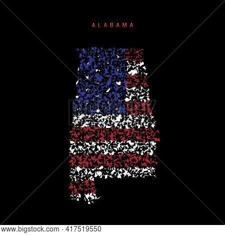 Alabama Us State Flag Map, Chaotic Particles Pattern In The Colors Of The American Flag. Vector Illu