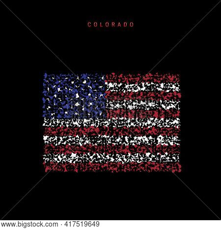 Colorado Us State Flag Map, Chaotic Particles Pattern In The Colors Of The American Flag. Vector Ill