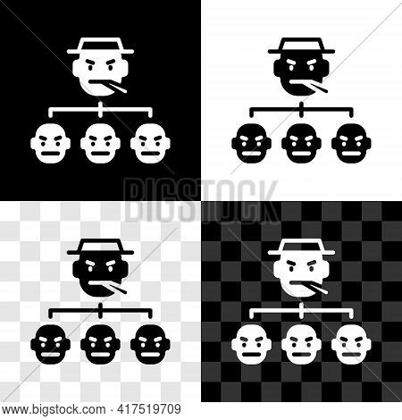 Set Mafia Icon Isolated On Black And White, Transparent Background. Boss And Gangsters. Vector