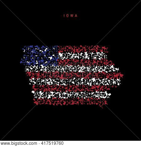 Iowa Us State Flag Map, Chaotic Particles Pattern In The Colors Of The American Flag. Vector Illustr