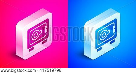Isometric Safe Icon Isolated On Pink And Blue Background. The Door Safe A Bank Vault With A Combinat