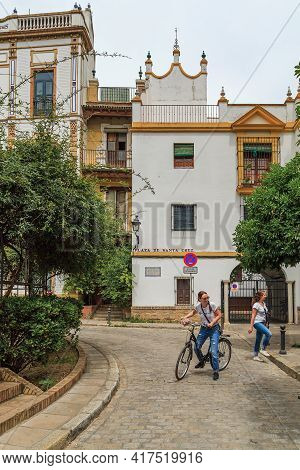Seville, Spain - May 21, 2017: It Is A Small Square In The Historic Medieval Jewish Quarter With Cha