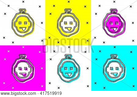 Set Murder Icon Isolated On Color Background. Body, Bleeding, Corpse, Bleeding Icon. Dead Head. Conc