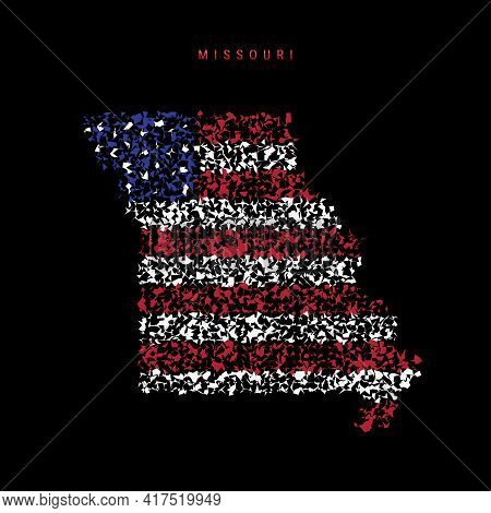 Missouri Us State Flag Map, Chaotic Particles Pattern In The Colors Of The American Flag. Vector Ill