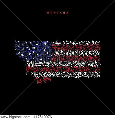 Montana Us State Flag Map, Chaotic Particles Pattern In The Colors Of The American Flag. Vector Illu