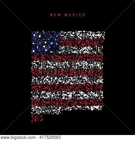 New Mexico Us State Flag Map, Chaotic Particles Pattern In The Colors Of The American Flag. Vector I