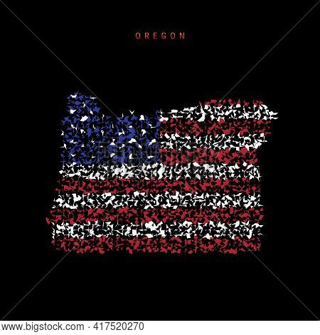 Oregon Us State Flag Map, Chaotic Particles Pattern In The Colors Of The American Flag. Vector Illus