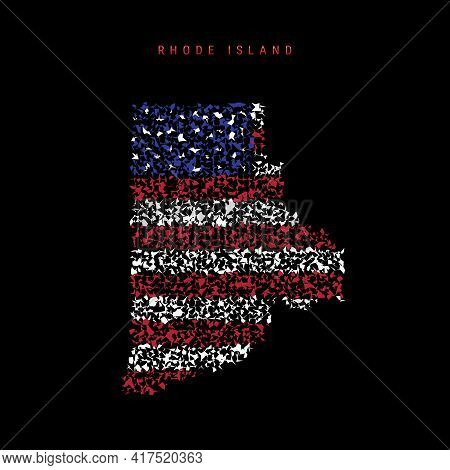 Rhode Island Us State Flag Map, Chaotic Particles Pattern In The Colors Of The American Flag. Vector