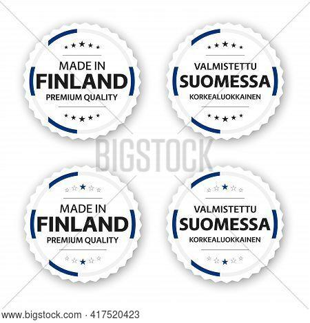 Set Of Four Finnish Labels. Made In Finland In Finnish Valmistettu Suomessa. Premium Quality Sticker