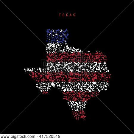 Texas Us State Flag Map, Chaotic Particles Pattern In The Colors Of The American Flag. Vector Illust