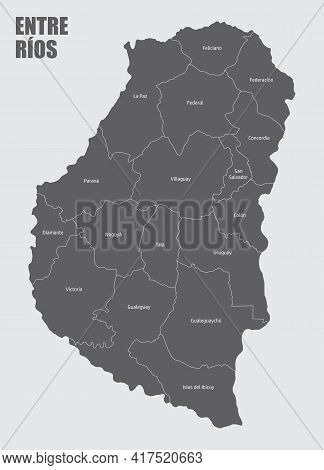 The Entre Rios Province Isolated Map Divided In Departments With Labels, Argentina