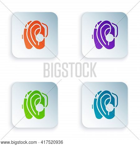 Color Hearing Aid Icon Isolated On White Background. Hearing And Ear. Set Colorful Icons In Square B